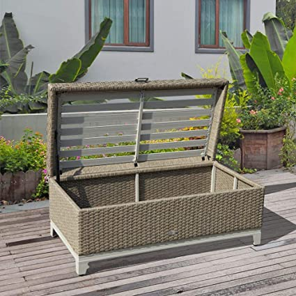 Swell Orange Casual Rattan Wicker Deck Storage Box Small Outdoor Storage Bench With Seat Cushion Aluminum Frame Tan Rattan And Beige Cushion Light Dry Short Links Chair Design For Home Short Linksinfo