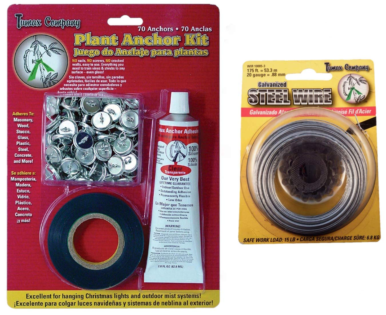 Tumax Plant Anchor Kit for Training Vines Roses and Garden Plants | Bundled with Galvanized Steel Wire 20ga by Tumax Company