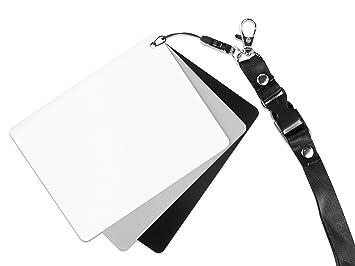 Ares Foto® Tarjeta Gris para Balance de Blancos Manual y medición de exposición. con Tarjeta de Referencia en Blanco y Negro. Práctica Correa para el ...