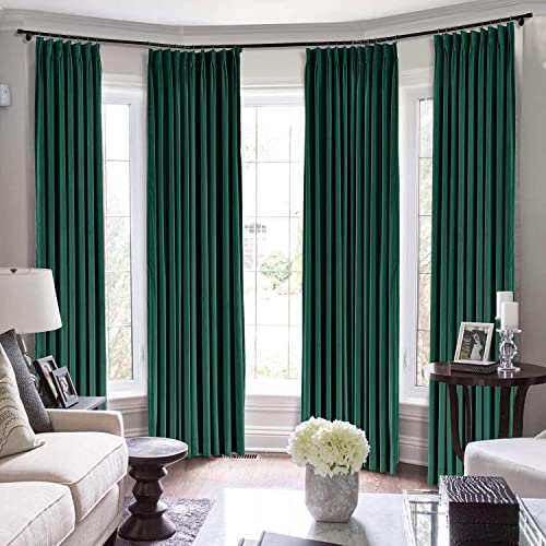 Drapifytex 200 Wide Blackout Panel Window Drape, Thermal Insulated Pinch Pleated Room Darkening Curtain for Bedroom, W200 x L100 Inch, Moss Curtain