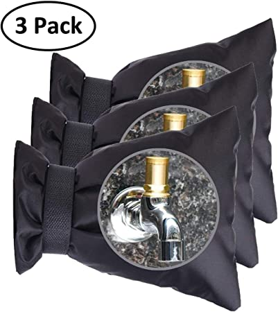 M, Black 3Pack Outdoor Water Spigot Faucet Cover Socks Hose Bib for Winter Freeze Pipe Insulation wrap Protection Covers 5.9 W x 7.7 H