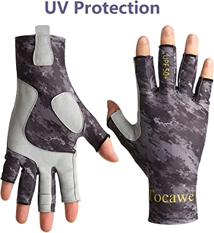 ... KastKing Sol Armis Fingerless Fishing Gloves SPF 50 Sun Gloves for Rowing
