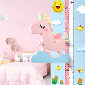 PAIVSUN Height Growth Chart Ruler for Kids Girls Room Decor, Unicorn Bedroom Decor for Girls Kids Baby, Nursery Playroom Decoration Wall Decals