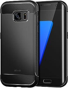 JETech Funda para Samsung Galaxy S7 Edge, Carcasa con Fibra de Carbono, Anti-Choques, Negro