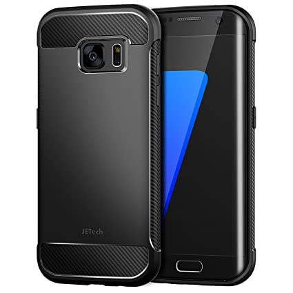 JETech Case for Samsung Galaxy S7 Edge Protective Cover with Shock-Absorption and Carbon Fiber Design (Black)