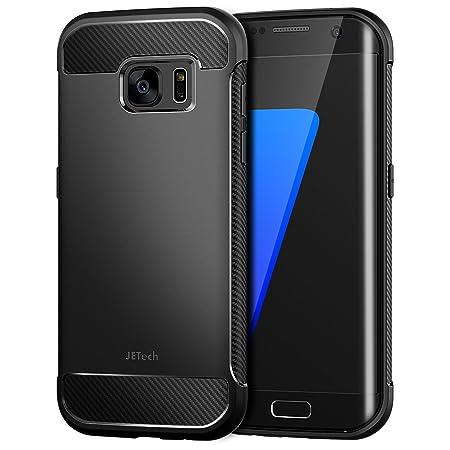 JETech Hülle für Samsung Galaxy S7 Edge Tasche mit Stoßdämpfung und Carbon Faser (Schwarz)