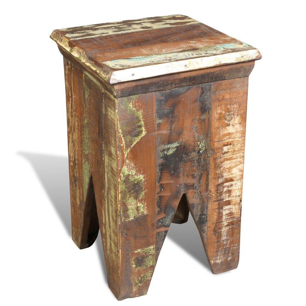 vidaXL Reclaimed Home Furniture Vintage Wood Short Chair Stool ...