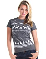 Christmas Reindeer Jumper Style T-shirt - Alternative to the Christmas Jumper - Charcoal Grey