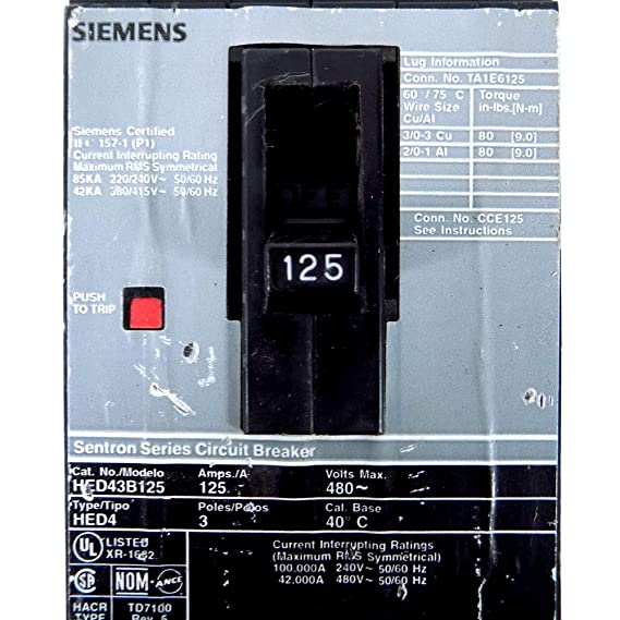 Siemens I-T-E HED43B125 125A Sentron Circuit Breaker 480V Type HED4 ITE 125 Amp