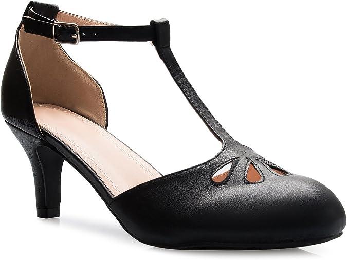 OLIVIA K Women's Kitten Low Heels T-Strap Pumps
