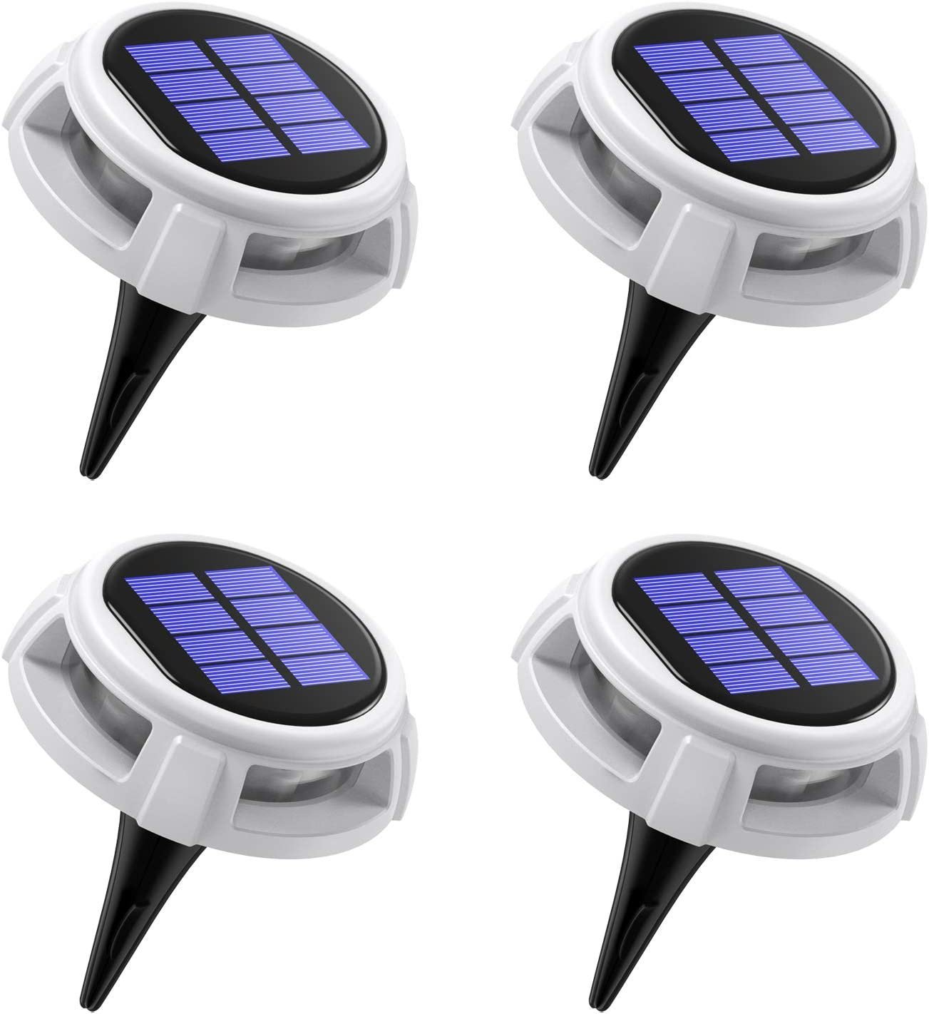 (2020 Upgraded) AMIR Solar Powered Disk Lights, LED Solar Ground Lights with 4 Lighting Modes, IP67 Waterproof Solar Pathway Lights Outdoor for Yard Deck Lawn Patio, White (4 Pack)