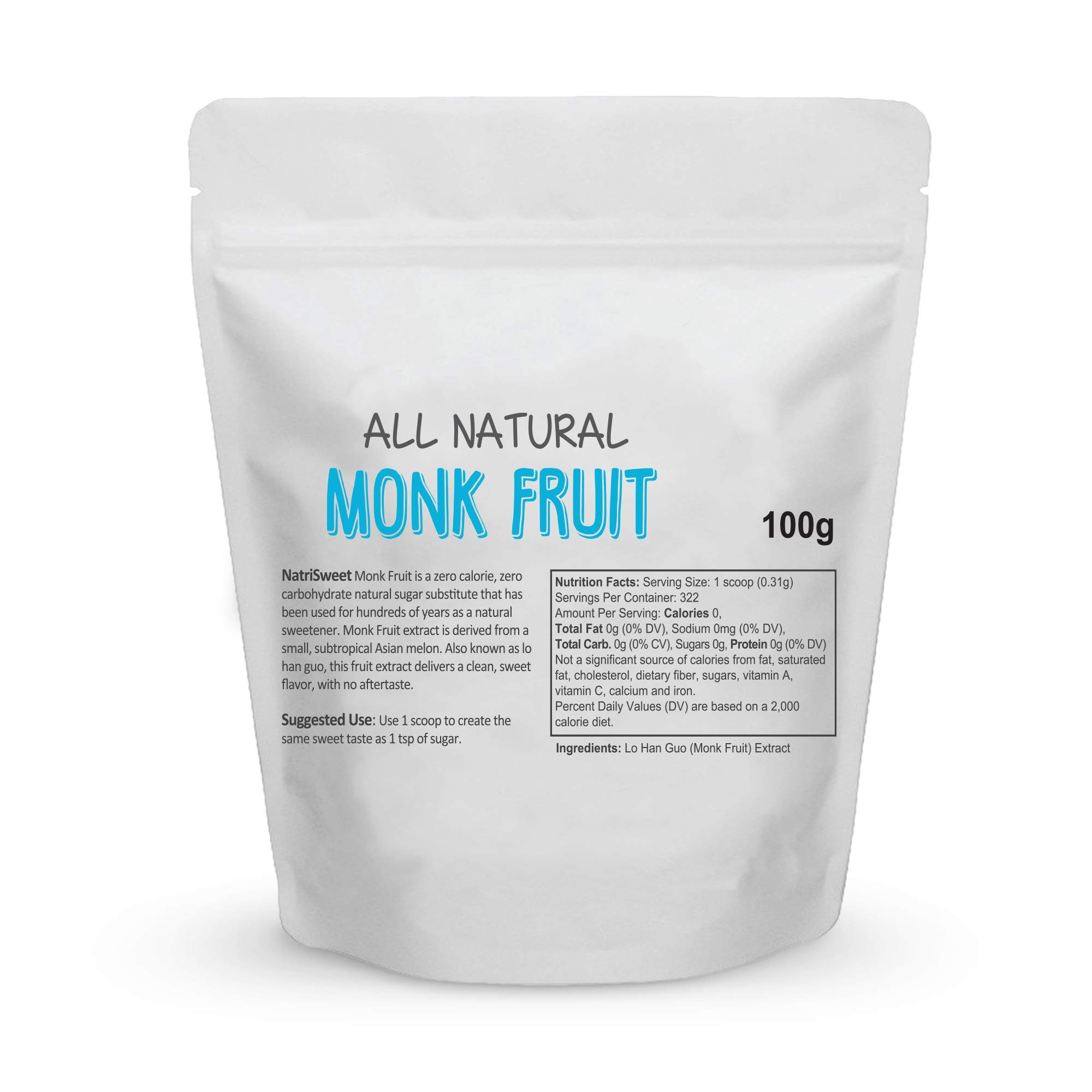 NatriSweet Monk Fruit Extract 3.5oz (100g) 322 Servings | Zero Calorie, Zero Carb, Natural Sweetener | Sugar Alternative with No Artificial Sweeteners | Perfect for Keto, Paleo & Low-Carb Dieters by NatriSweet (Image #2)