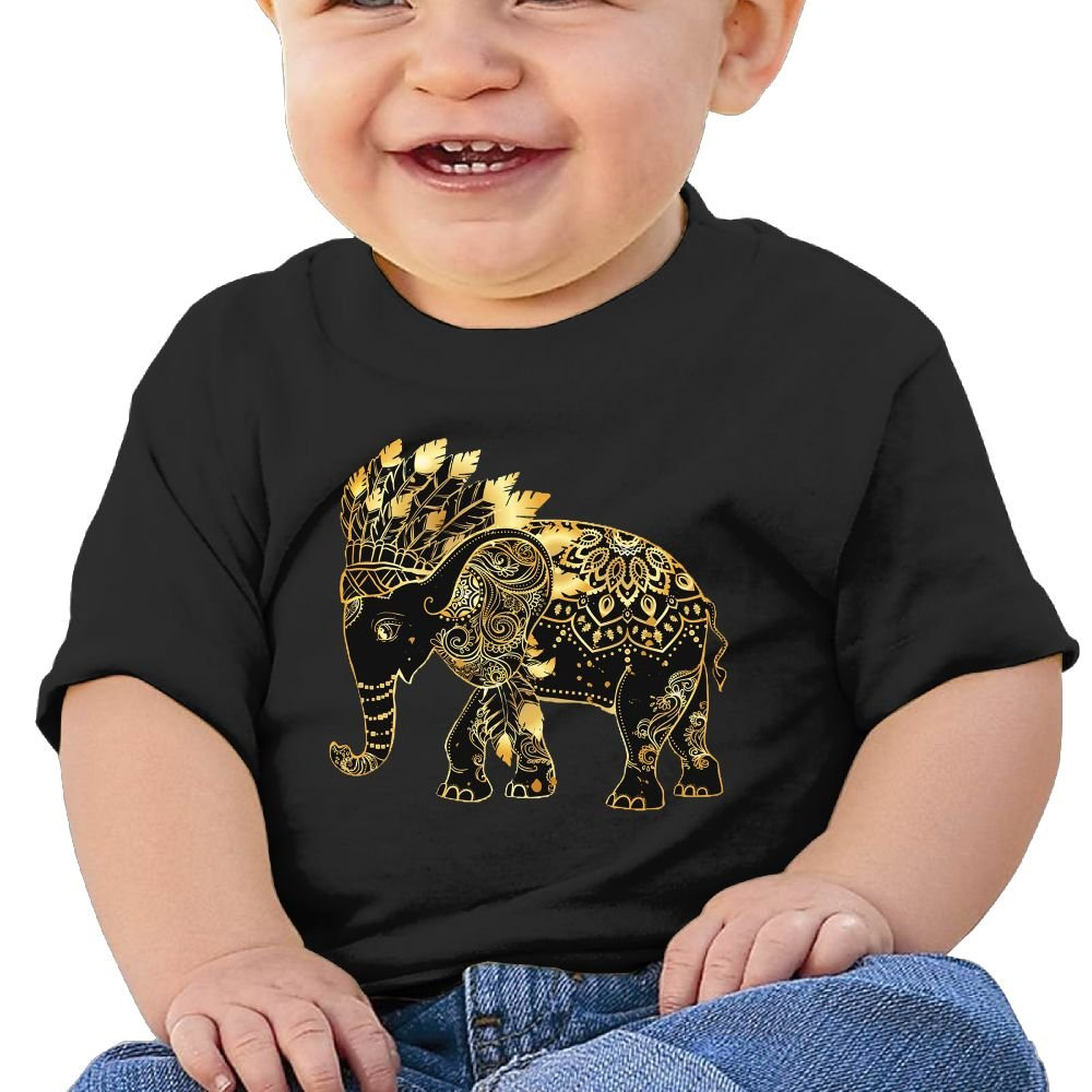 FFWWLHR Indian Elephants Baby Short Sleeve Tees Unisex Comfortable Merry Christmas Cotton Baby Toddler Short Sleeve Tees