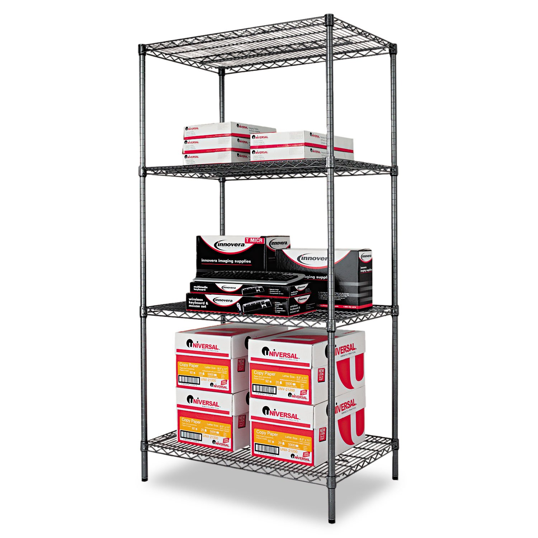 Wire Shelving Starter Kit, 4 Shelves, 36w x 24d x 72h, Black Anthracite