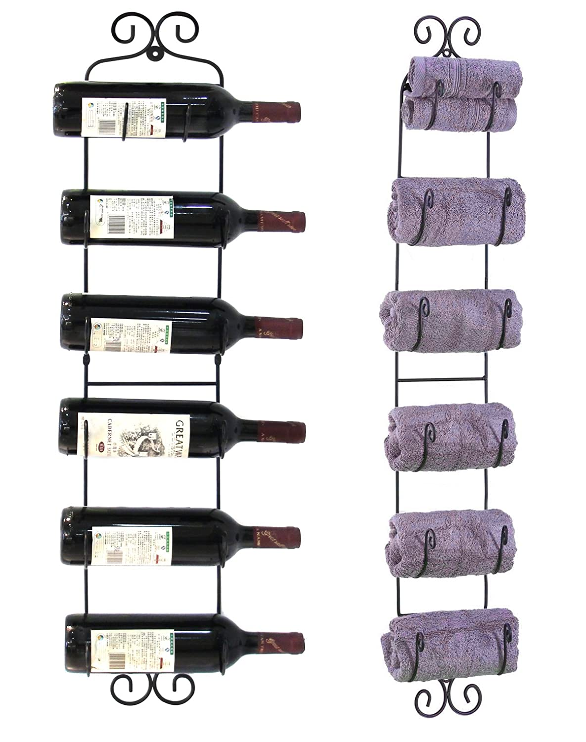 shop amazon com wine racks esylife wall mounted wine towel rack 6 bottles black