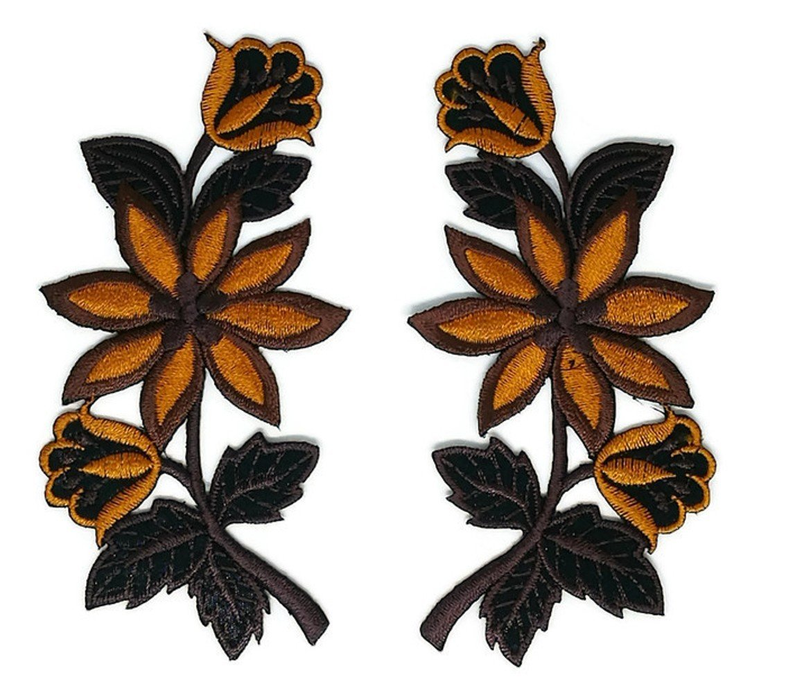 Brown Black Pair Flower Floral Bouquet Embroidered Sew Iron on Patch Cartoon Sew Iron on Embroidered Applique Craft Handmade Baby Kid Girl Women Cloths DIY Costume Accessories Iron on patches