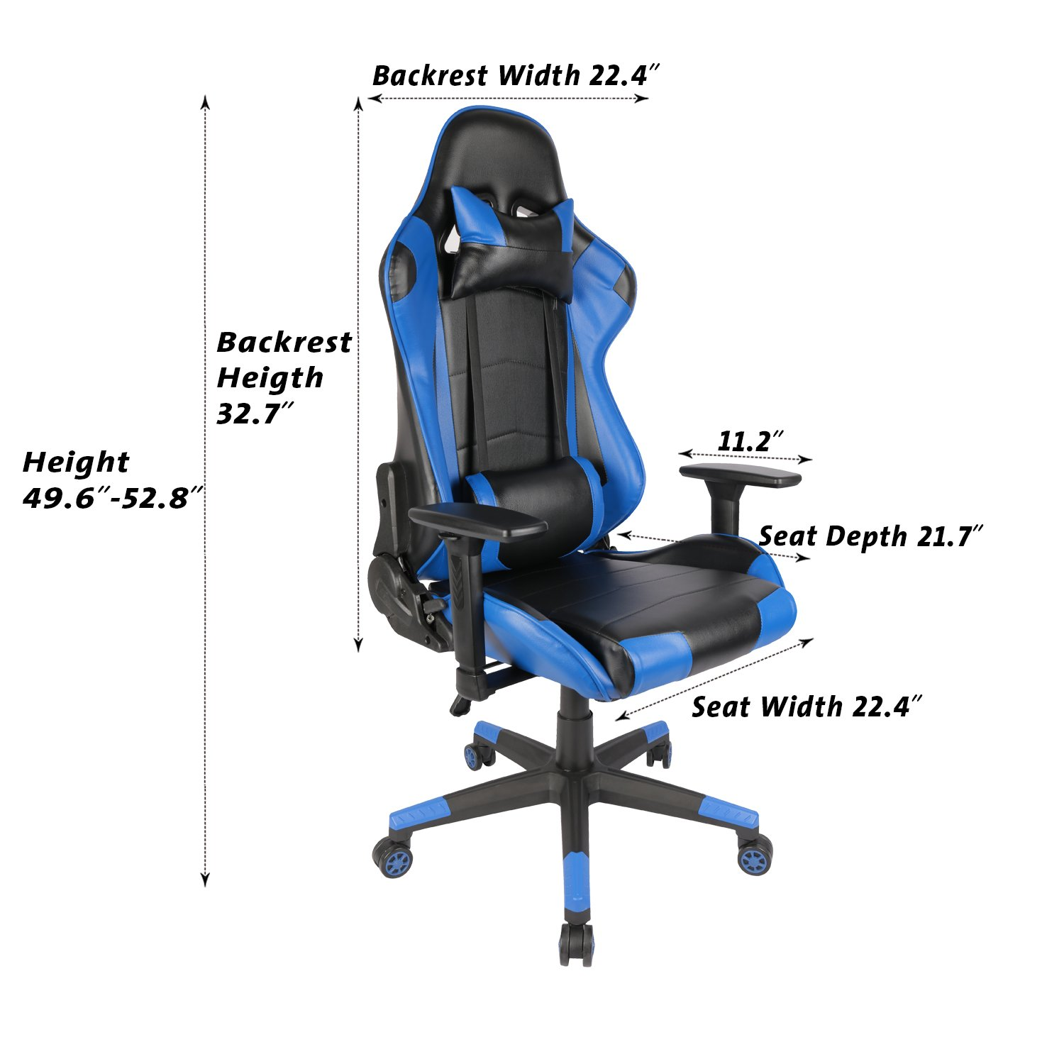Amazon.com: KILLABEE Racing Style Gaming Chair   Big And Tall 400lb  E Sports High Back Ergonomic Executive Computer Desk Leather Office Chair  With ...