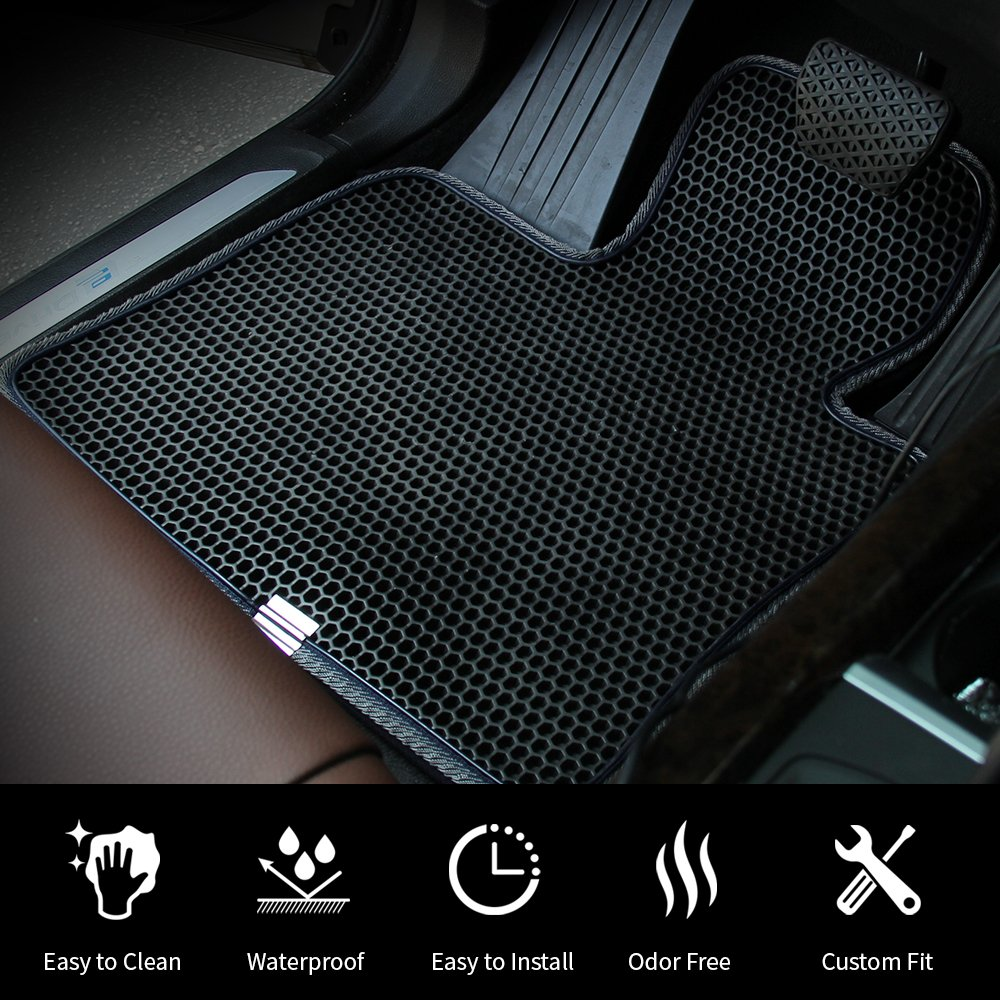 Easy to Clean. All Weather Heavy Duty Protection for Front and Rear Custom Fit with Dual Layered Honeycomb Design for Dodge RAM 1500 Quad Cab 2012-2018 EVA Material Motliner Floor Mats