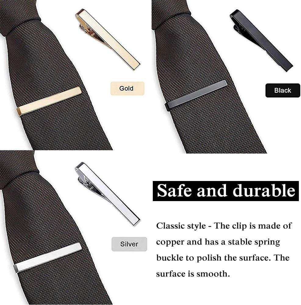 WENTS Pinces /à Cravate 6PCS Pince /à Cravate pour Homme Cravate Bar Clips Set pour Les Pinces daffaires de Mariage Pince /à Cravate Skinny