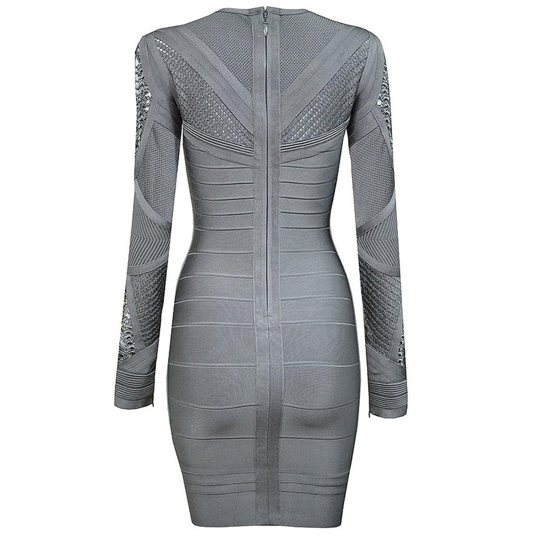 Hlbcbg Women's Long Sleeve Rayon Bandage Dress Cocktail Dress 2387