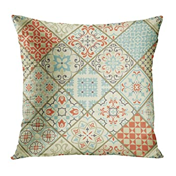 Amazoncom Tomkeys Throw Pillow Cover Beige Ceramic With Colorful