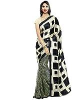 Jaanvi Fashion Women's Crepe Saree(Black_Apple_Beige)