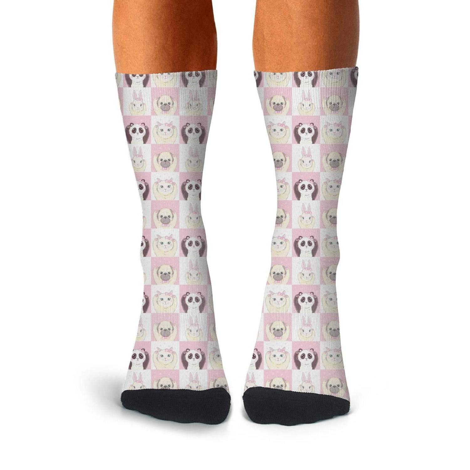 Mens All-season Sports Novelty Socks Cute Cat Face And Paw White Background Athletic Socks For Men