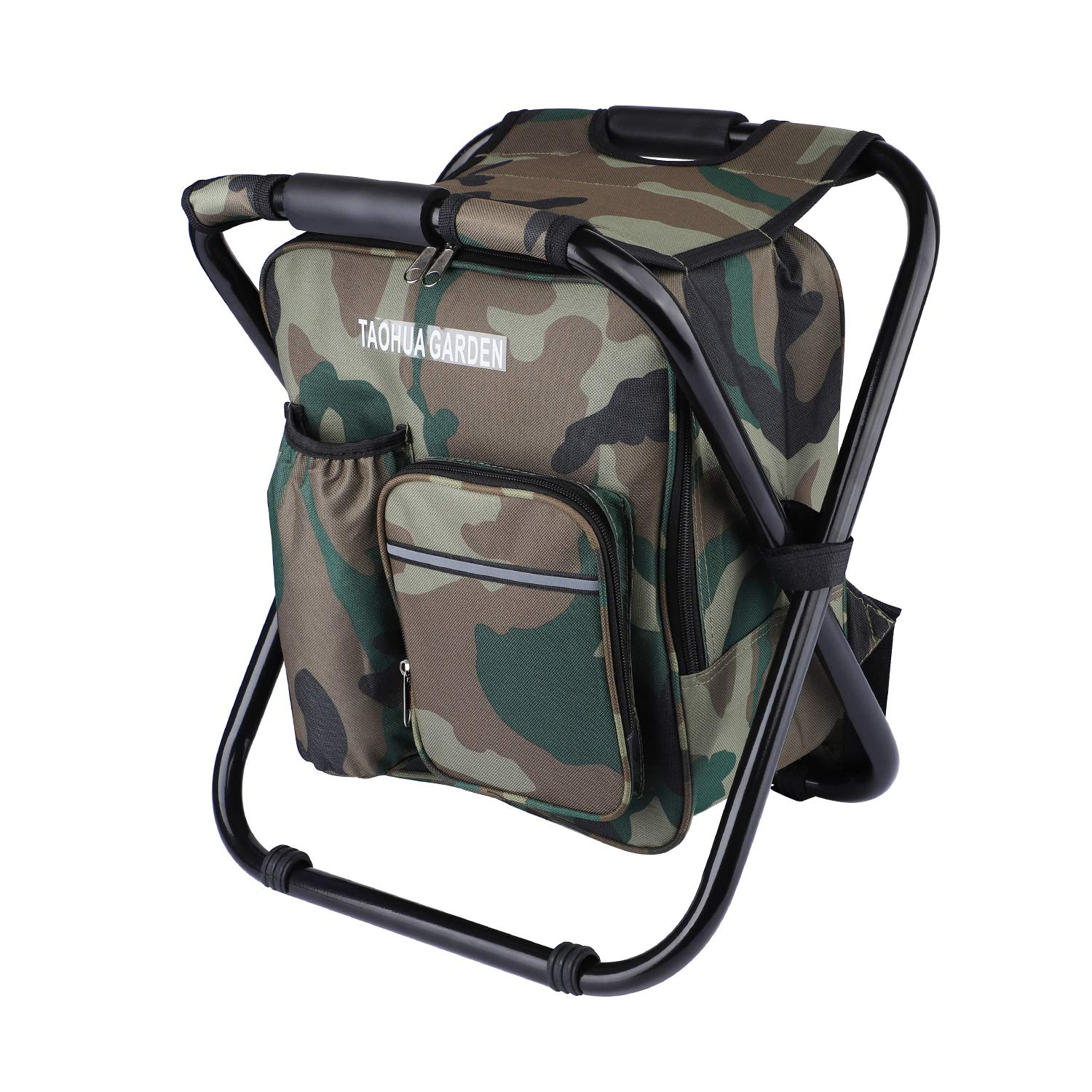 TAOHUA GARDEN Folding Camping Chair & Backpack with Cooler Insulated Picnic Bag Camping Stool Oxford Fabric Hiking Fishing Travel Beach BBQ Outdoor activies (Camouflage)