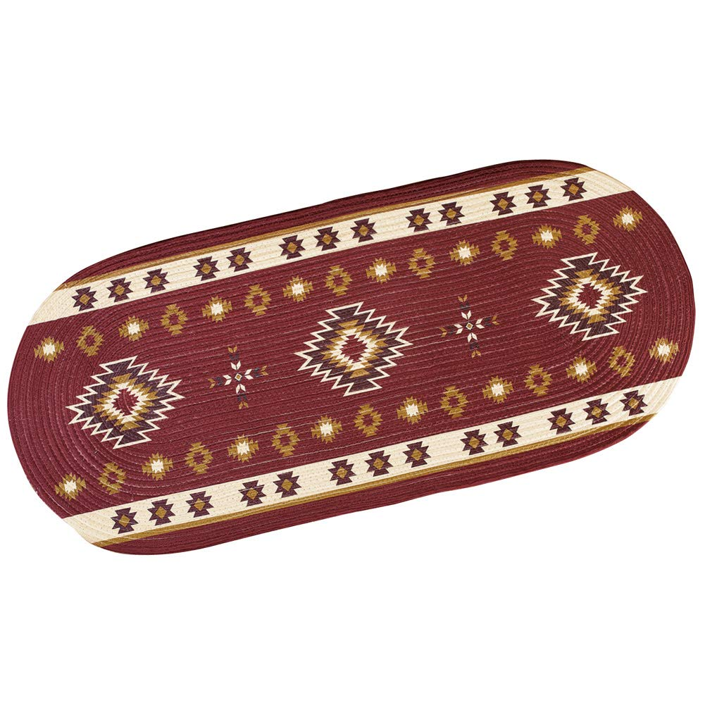 Southwestern Aztec Oval 48x20 Braided Area Rug in Burgundy, Tan Chocolate Colors Collections Etc