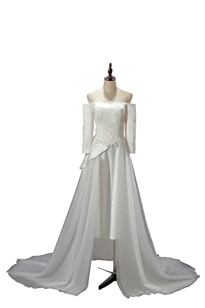 Amazon.com: kelaixiang hombro satén boda traje tul Trailing ...