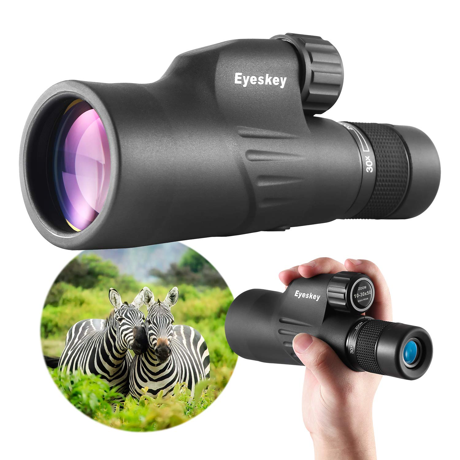 Eyeskey Seeker Pro HD Packet Monocular Compact Size Theater Monoculars for Birding Travelling Optimized Clear Optics Black-10X50 Waterproof and Fog-Proof