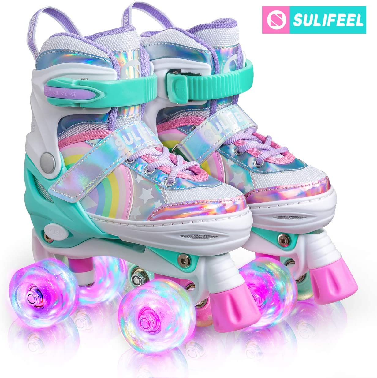 SULIFEEL Rainbow Unicorn 4 Size Adjustable Light up Roller Skates for Girls Boys and Kids