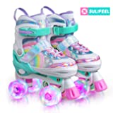 SULIFEEL Rainbow Unicorn 4 Size Adjustable Light up Roller Skates for Girls Boys for Kids - Small