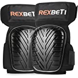 Knee Pads for Work, Construction Gel Knee Pads Tools by REXBETI, Heavy Duty Comfortable Anti-slip Foam Knee Pads for Cleaning Flooring and Garden, Strong Stretchable Straps, 1 Pair (Black)