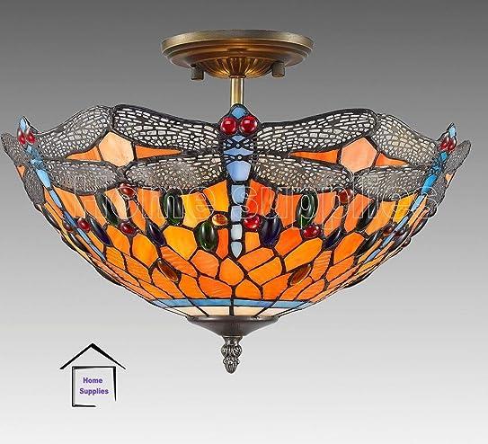 tiffany flush ceiling lights uk. dragonfly tiffany semi flush ceiling light lights uk 7