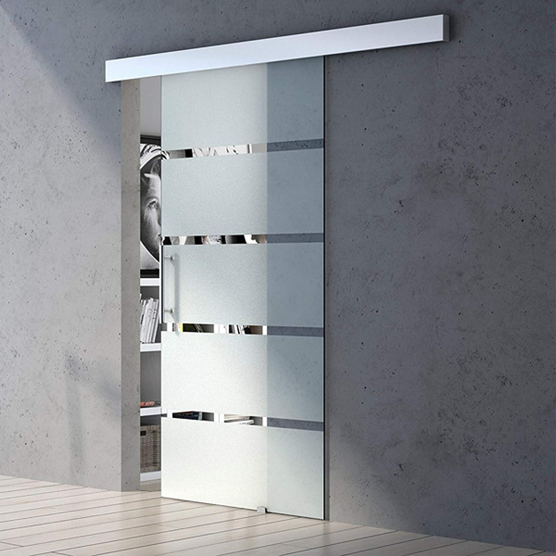 Muschelgriff Amalfi TS11H-775SC MSMG Glasschiebet/ür 775x2150 8mm mit 5-Milchglas Streifen Softclose Griffart