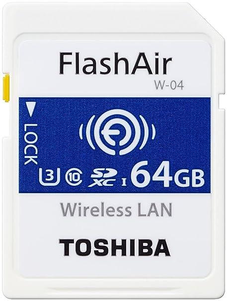 Toshiba Flashair W-04 - Tarjeta de memoria (64 GB, SDXC, Clase 3, 90 MB/s, 70 MB/s, UHS-I)