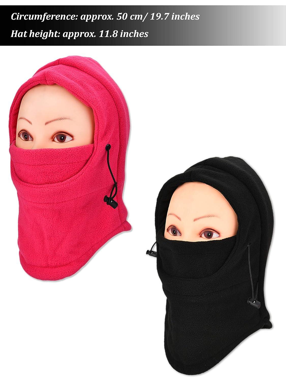 Jetec 2 Pi/èces Masque de Ski Balaclava Masque Facial Coupe-Vent Cache-Cou Ajustable Couvre Visage Complet Bonnet dhiver Chaud