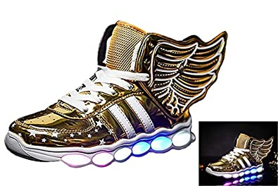 ad54861a676c Cool Gift Kids Winged LED Color LED Light Up Metallic Light-Up Shoes(Toddler
