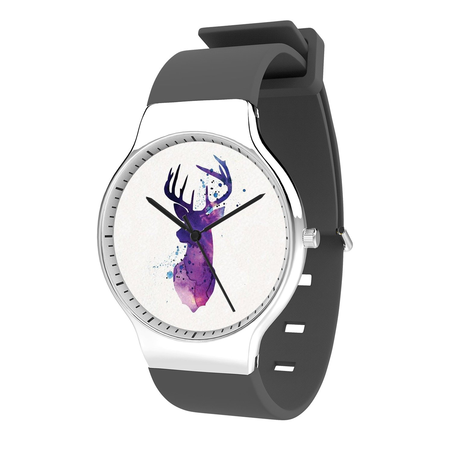 FELOOWSE Animal Watches Deer Watches Men's Quartz Watches, Minimalist Slim Japanese Quartz Youth Silicone Watches, Fashion Practical Waterproof Boys Watch Customized Watches