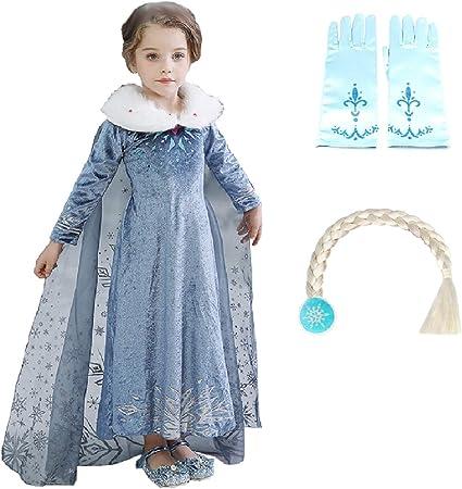 Disfraz de niña Elsa - 2 - incluye guantes y trenza - deluxe ...