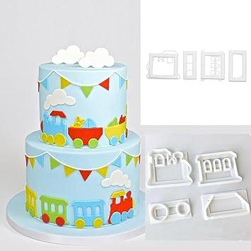 4 Lot Zug Form Kuchen Form Fondant Cutter Kunststoff Kuchen