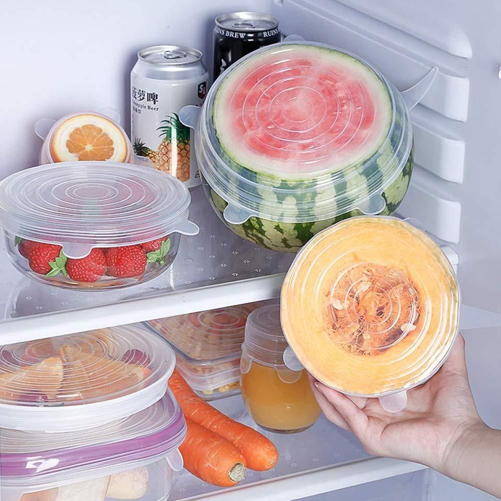 Reutilizable Fundas para Alimentos Tapa Tazas Stone TH Tapa de Silicona Lavavajillas Boles o Tarros 12 Fundas para Tazones de Silicona Refrigerador