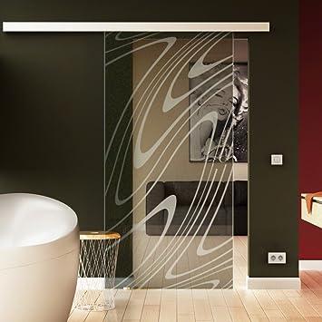 R Made in Germany SoftClose Schiebet/ür aus Glas 900x2050 mm/ Rekursiv-Design Levidor/® EasySlide-System komplett Laufschiene und Muschelgriffen f/ür Innenbereich/ ESG-Sicherheitsglas