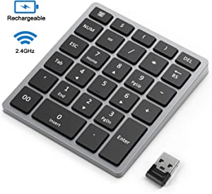 2.4GHz Wireless Rechargeable Number Pad, Jelly Comb Slim Numeric Keypad with Mini USB Receiver, Full Size 28-Key Number Portable Accounting Pad for Laptop, Notebook, PC, Desktop (Gray)