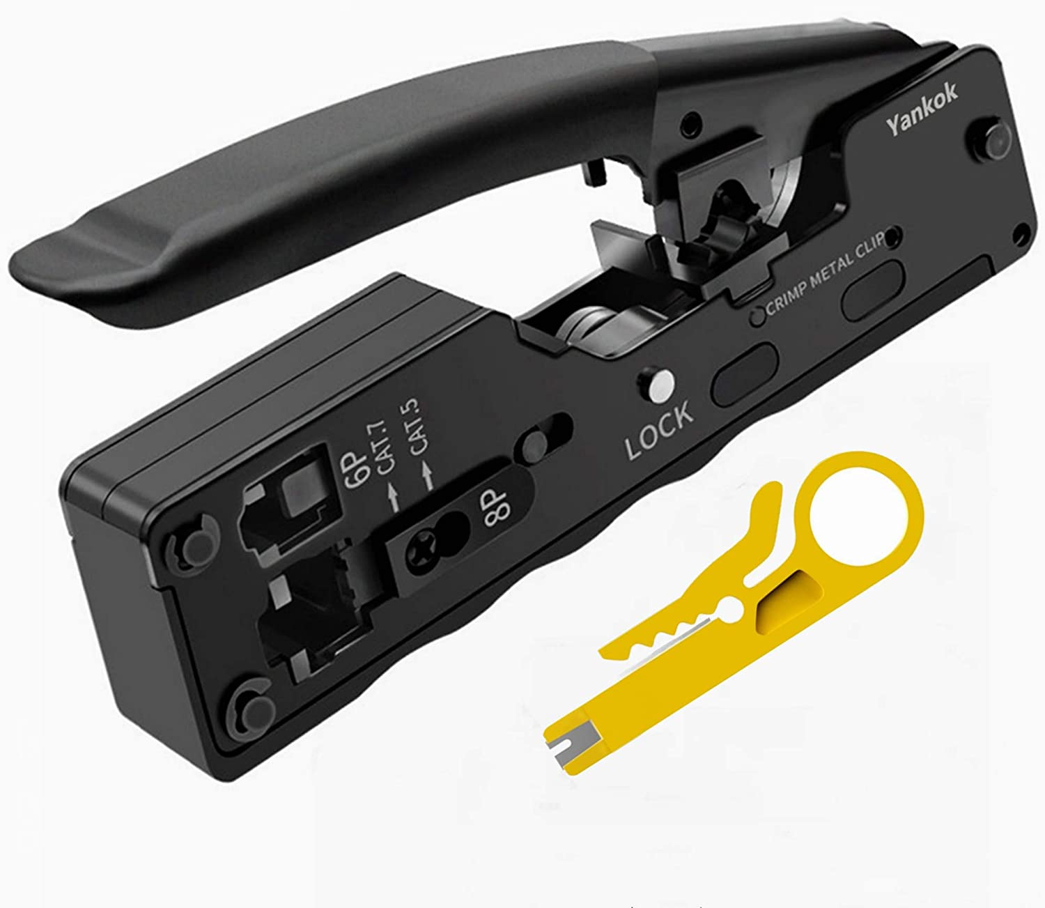 Yankok Cat5 Cat6 Cat7 Pass Through Crimper For Ez Rj45 And Standard Rj45 Rj12 Rj11 Connectors Cat6a Shielded Modular Plugs Black Grip Come With Carry Pouch And Mini Punch Down Tool Amazon Com Industrial