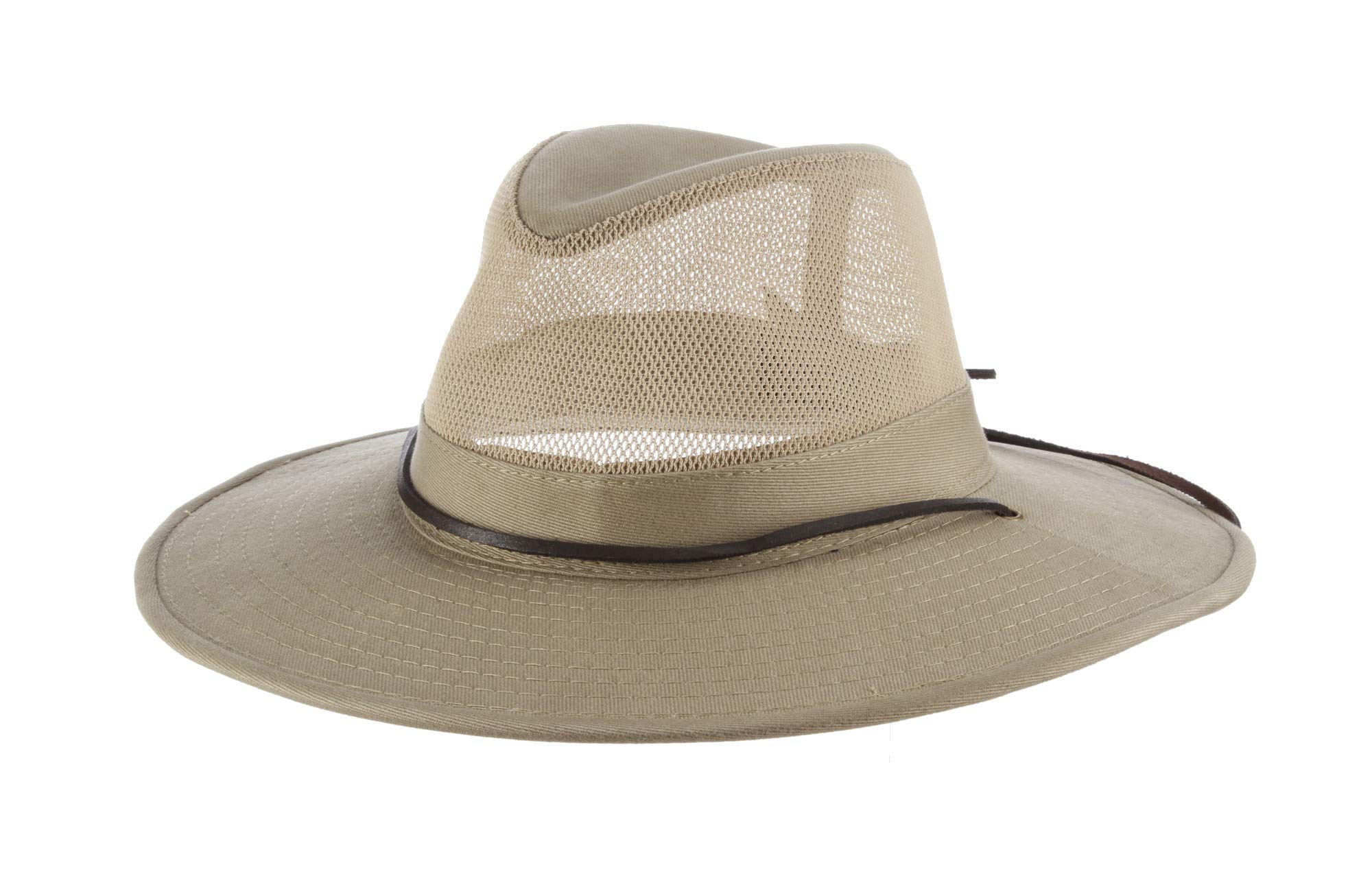 22cc643b0d4fb Dorfman Pacific Men s Brushed Twill-and-Mesh Safari Hat with Genuine Leather  Trim product