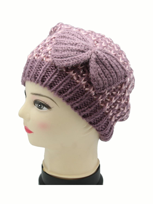 パープルニット冬Frost Hat with Bow by Ganz   B00L9JU44S