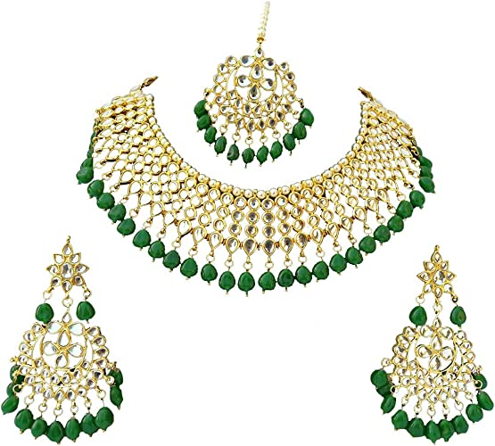 Designer Bollywood Gold Plated Jewelry Indian Kundan Bridal Wear Necklace Set