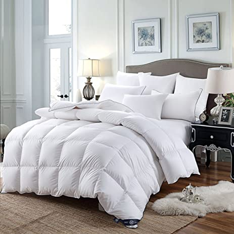 LUXURIOUS Twin Size All Seasons White GOOSE DOWN Comforter, 300 Thread  Count 100% Egyptian
